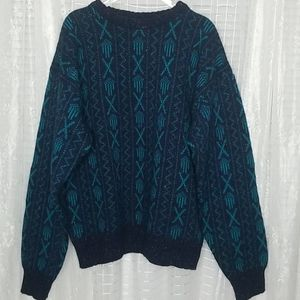 Vintage Hill& Archer Wool Blend Grandpa Sweater XL